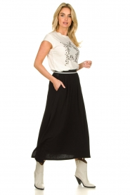 Blaumax |  Maxi skirt with elastic waistband Tigirs | black  | Picture 4