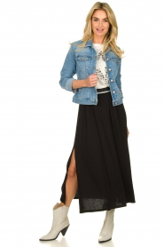Blaumax |  Maxi skirt with elastic waistband Tigirs | black  | Picture 3