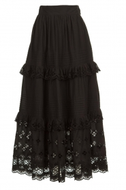 Antik Batik |  Maxi skirt with ruffles Ally | black  | Picture 1