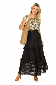 Antik Batik |  Maxi skirt with ruffles Ally | black  | Picture 3