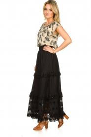 Antik Batik |  Maxi skirt with ruffles Ally | black  | Picture 4