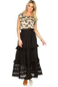 Antik Batik |  Maxi skirt with ruffles Ally | black  | Picture 2