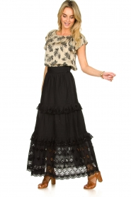 Antik Batik |  Maxi skirt with ruffles Ally | black  | Picture 6