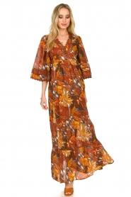 Antik Batik |  Cotton dress with print Ramba | brown  | Picture 4