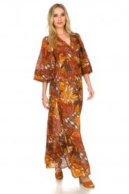 Antik Batik |  Cotton dress with print Ramba | brown  | Picture 2