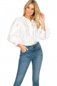 Antik Batik |  Popline blouse Malia | white  | Picture 4