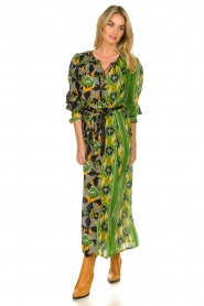 Antik Batik |  Maxi dress with print | green  | Picture 2