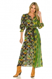 Antik Batik |  Maxi dress with print | green  | Picture 3