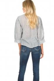 Antik Batik |  Striped cotton blouse Kimolos | blue  | Picture 6
