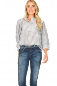 Antik Batik |  Striped cotton blouse Kimolos | blue  | Picture 2