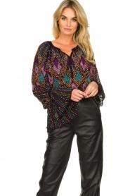 Antik Batik |  Blouse with sequins Emilia | black  | Picture 4