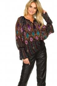 Antik Batik |  Blouse with sequins Emilia | black  | Picture 2