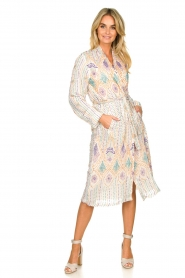 Antik Batik |  Sequin wrap dress Emilia | white  | Picture 7