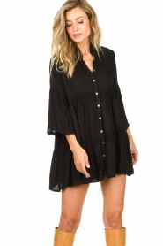 Genesis |  Buttoned crepe dress Fuji | black  | Picture 4