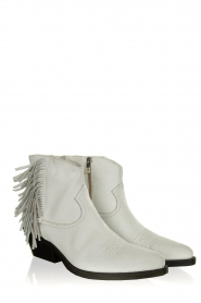 Janet & Janet |  Leather fringe ankle boots Clizia | white  | Picture 3