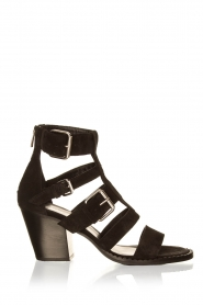 Janet & Janet |  Suede buckle sandals Roccia | black  | Picture 1