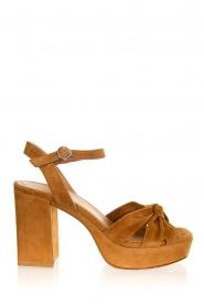 Janet & Janet |  Suede platform sandals Ermes | camel  | Picture 1