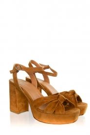 Janet & Janet |  Suede platform sandals Ermes | camel  | Picture 3
