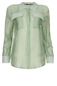 Fracomina |  Blouse with beads Mornella | green  | Picture 1