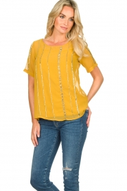 Fracomina |  Luxe top Leila | yellow  | Picture 4