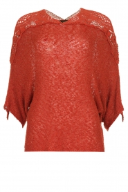 Fracomina |  Sweater with lace details Mina | red  | Picture 1