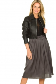 Dante 6 |  Leather cropped jacket | black  | Picture 4