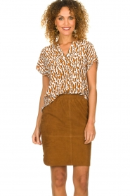 Dante 6 |  Printed top Prim | brown  | Picture 2