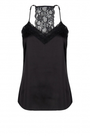 Lace tracerback top | zwart