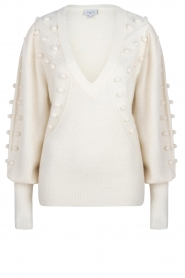 Dante 6 |  Sweater with pompoms Mika | white  | Picture 1
