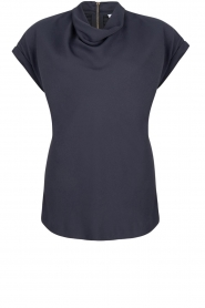 Dante 6 |  Draped collar top Mason | dark blue  | Picture 1