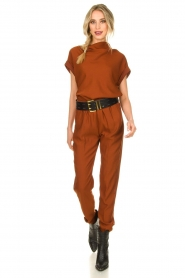 Dante 6 |  Draped collar top Mason | brown  | Picture 3