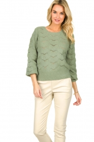 Dante 6 |  Knitted ajour sweater Helios | green  | Picture 4