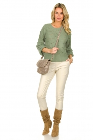 Dante 6 |  Knitted ajour sweater Helios | green  | Picture 3