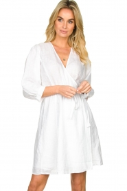 Dante 6 |  Linen wrap dress Leloutre | white  | Picture 2