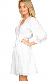 Dante 6 |  Linen wrap dress Leloutre | white  | Picture 4