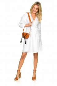 Dante 6 |  Linen wrap dress Leloutre | white  | Picture 3