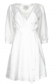 Dante 6 |  Linen wrap dress Leloutre | white  | Picture 1