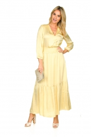 Dante 6 |  Satin midi dress Bardon | yellow  | Picture 3