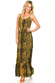 Dante 6 |  Leopard printed maxi dress Jardin | black  | Picture 2