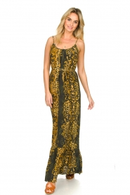 Dante 6 |  Leopard printed maxi dress Jardin | black  | Picture 3