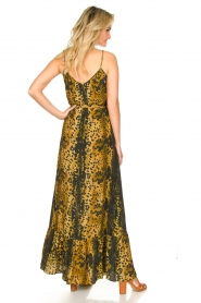 Dante 6 |  Leopard printed maxi dress Jardin | black  | Picture 5