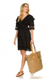 Antik Batik |  Cut open dress Ally | black  | Picture 3
