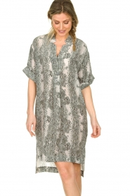 Notes Du Nord |  Silk print dress Oak | grey  | Picture 4