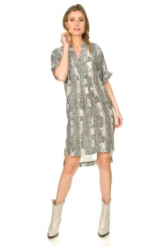 Notes Du Nord |  Silk print dress Oak | grey  | Picture 3