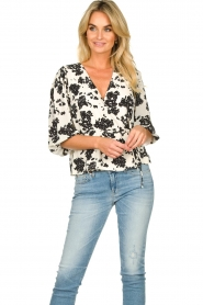 Notes Du Nord |  Printed wrap top Orchid | white  | Picture 4