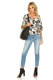 Notes Du Nord |  Printed wrap top Orchid | white  | Picture 3