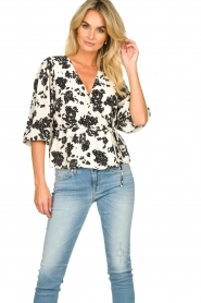 Notes Du Nord |  Printed wrap top Orchid | white  | Picture 2