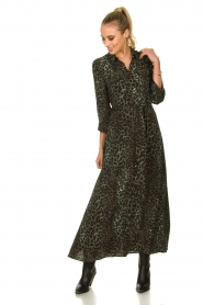 Sofie Schnoor |  Leopard printed maxi dress Lula | green  | Picture 3