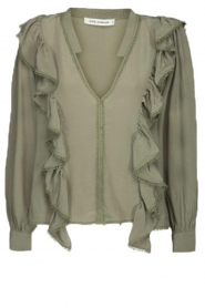 Sofie Schnoor |  Blouse with ruffles Pouline | green  | Picture 1