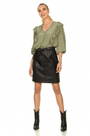 Sofie Schnoor |  Blouse with ruffles Pouline | green  | Picture 3